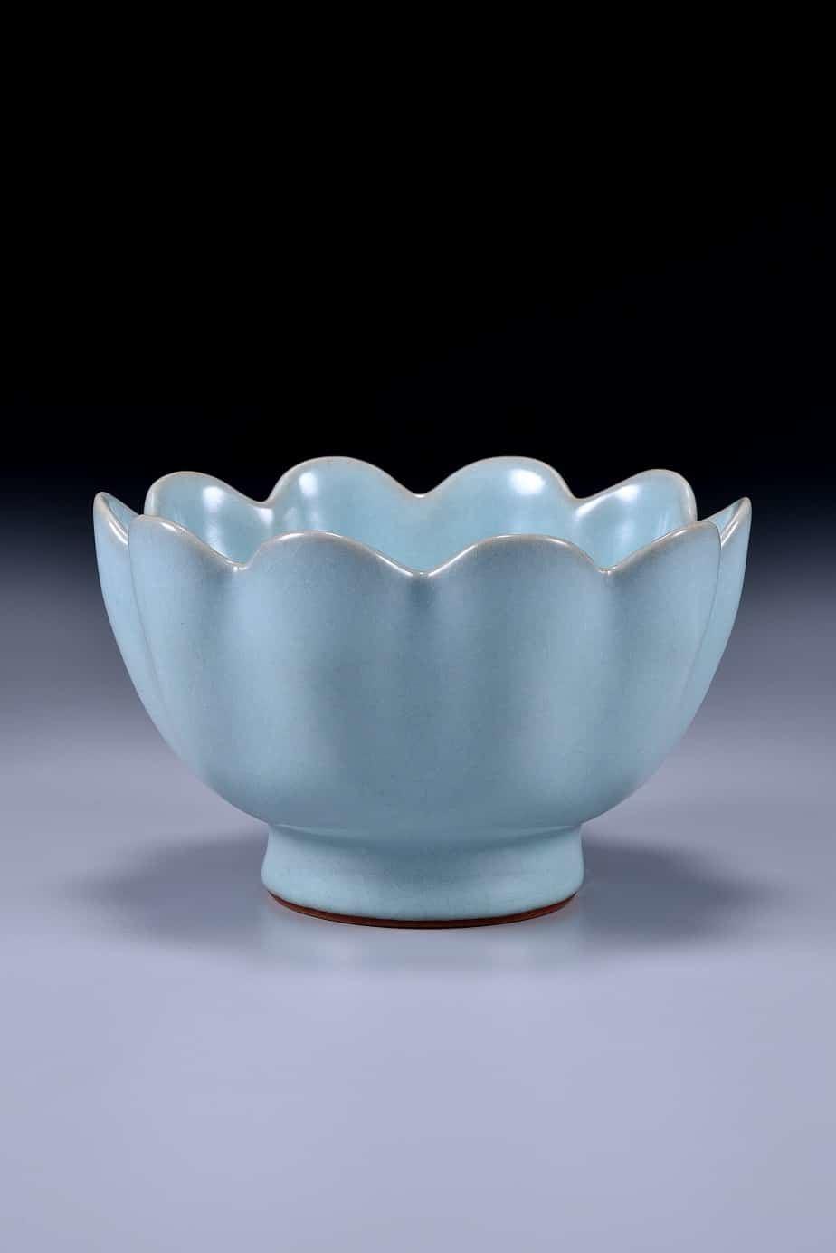 汝窯青瓷蓮花式溫碗
